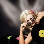 Music Dj Girl Holding Audio Vinyl Record