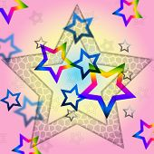 Pink Stars Background Shows Space Astronomy And Celestial.