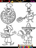 Cook Chefs Set Cartoon Coloring Book