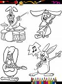 Rabbits Musicians Set Cartoon Coloring Book