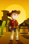 Boy Dressed Up As A Cowboy