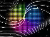 Color Wheel Background Shows Night Sky And Swirls.