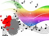 Rainbow Music Background Means Stripes And Playing Instruments.