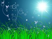 Floral Horizon Background Shows Vibrant Landscape Or Fresh Lawn.