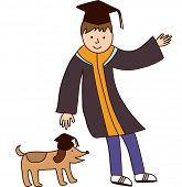 The view of graduate with dog