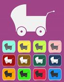 Baby Pram - Vector icon isolated