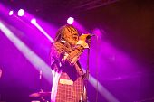 LOULE - JUNE 26: Winston Mcanuff and Fixi, traditional duo from Jamaica and France, performs on stag