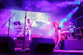 LOULE - JUNE 26: Bomba Estereo an eletronic dance music band from Colombia, performs on stage at fes