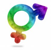 picture of bisexual  - multicolored bisexual symbol isolated on white background - JPG