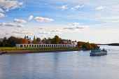 Ship Sailing On The River, Novgorod, Russia