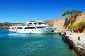 Spinalonga, Greece - May 14: The Motor Yachts With Tourists Are Near Spinalonga Island On May 14, 20