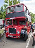 The red passenger double decker bus on show of collection Retrofest cars