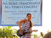 Hawaiian Style Musician Taimane Gardner Plays Ukulele On Stage