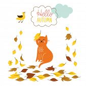 Cat and  fall of the leaves poster