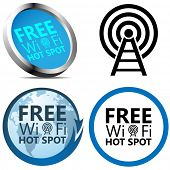 Free Wi-Fi Internet access signs isolated on white background.
