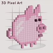 Cartoon piggy. 3D Pixel Art.