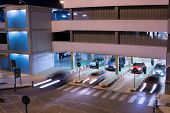 VALENCIA, SPAIN - JUNE 25, 2014: Cars exiting the parking garage at the Valencia airport. Situated 8