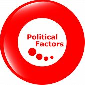 Political Factors Web Button, Icon Isolated On White