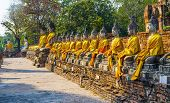 Buddha Statues At The Temple Of Wat Yai Chai Mongkol In Ayutthaya