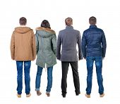 Back view group of people in jacket. Rear view team people collection.  backside view of person.  Is
