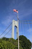 American flag in the front of Verrazano Bridge in Staten Island