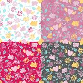 One seamless pattern on four various backgrounds