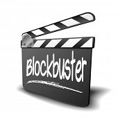 detailed illustration of a clapper board with Blockbuster term, symbol for film and video genre, eps