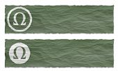 Set Of Two Banners With Crumpled Paper And Omega Symbol