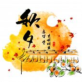 Vector Hanok Roof Top Persimmons Ink Painting for Korean Chuseok (Mid Autumn Festival), Thanks Givin