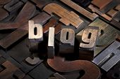 blog written with antique letterpress printing blocks on random letters background