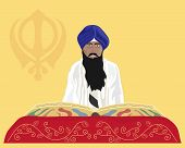 image of sikh  - an illustration of a granthi narrator of the sikh faith reading from the holy book sri guru granth sahib ji with mustard background and sikh emblem - JPG