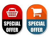 Special Offer With Shopping Basket And Cart Signs, Two Elliptical Labels