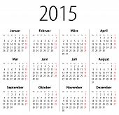 German Solid Calendar For 2015