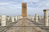 Hasan tower located in Moroccan capital Rabat. It'c construction begun in 1195 by Yacub al-Mansur.