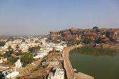 Rock carved temples, artifial lake and city at Badami, Karnataka, India