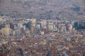 Capital of Bolivia - La Paz. View on the suburbs.