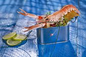 foto of crustacean  - Presentation of a crustacean with mixed vegetables in box - JPG