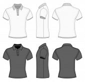 Men's white and black short sleeve polo shirt and t-shirt design templates (front, back and side views). Ribbed collar, cuffs and waistband. Vector illustration