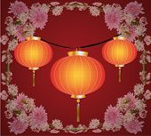 Three Chinese Paper Small Lamps On A Brown Background In A Frame From Chrysanthemums