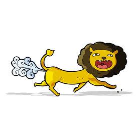 stock photo of fart  - cartoon farting lion - JPG