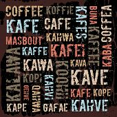 Poster, decorative panels labeled coffee in different languages.