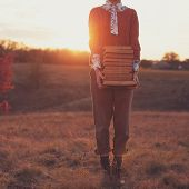 Hipster Style Woman With Books