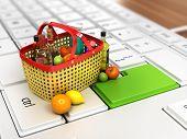 food basket on keyboard