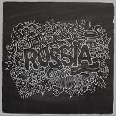 Russia Vector hand lettering and doodles elements chalkboard bac