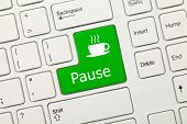 White Conceptual Keyboard - Pause (green Key)
