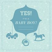 Vector cute greeting card. It's a boy card design. Vector illustration with cartoon rocking horse, car,baby's dummy.
