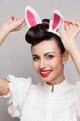 Smiling Bunny Girl . Pinup Style