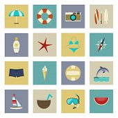 Beach Vacation And Travel Flat Icons Set