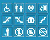 stock photo of elevator  - Vector white public icons with toilet - JPG