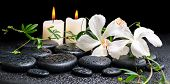 image of tendril  - spa concept of blooming white hibiscus twig with tendril passionflower and candles on zen basalt stones with drops panorama